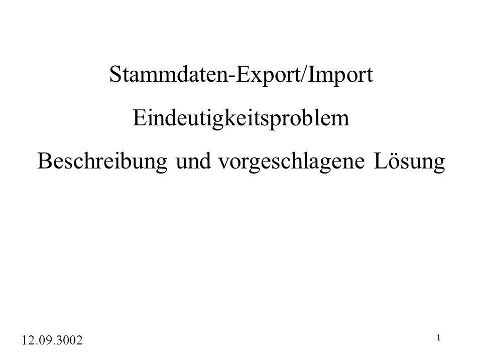 1 Stammdaten-Export/Import Eindeutigkeitsproblem Beschreibung und vorgeschlagene Lösung 12.09.3002