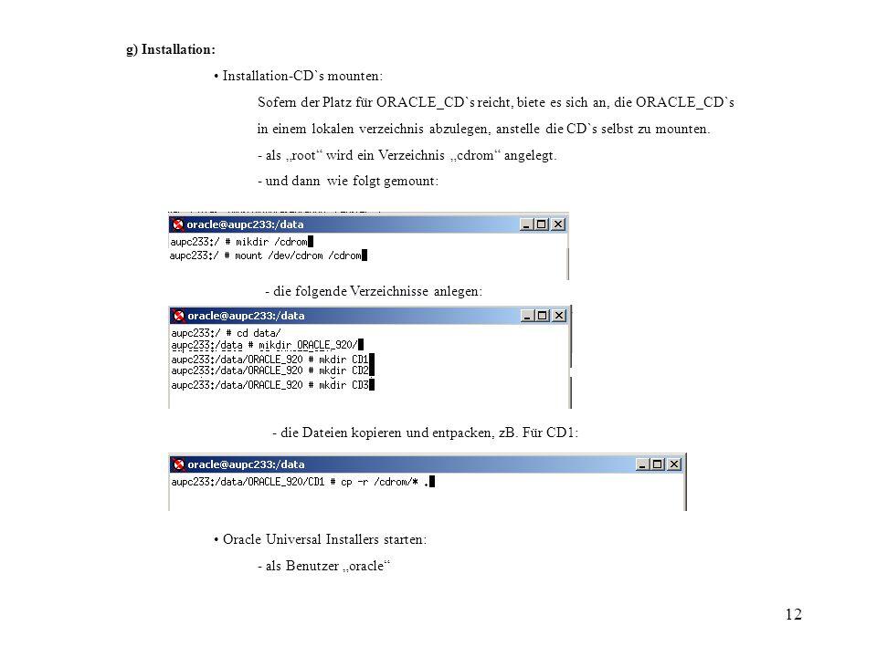 12 g) Installation: Installation-CD`s mounten: Sofern der Platz für ORACLE_CD`s reicht, biete es sich an, die ORACLE_CD`s in einem lokalen verzeichnis abzulegen, anstelle die CD`s selbst zu mounten.