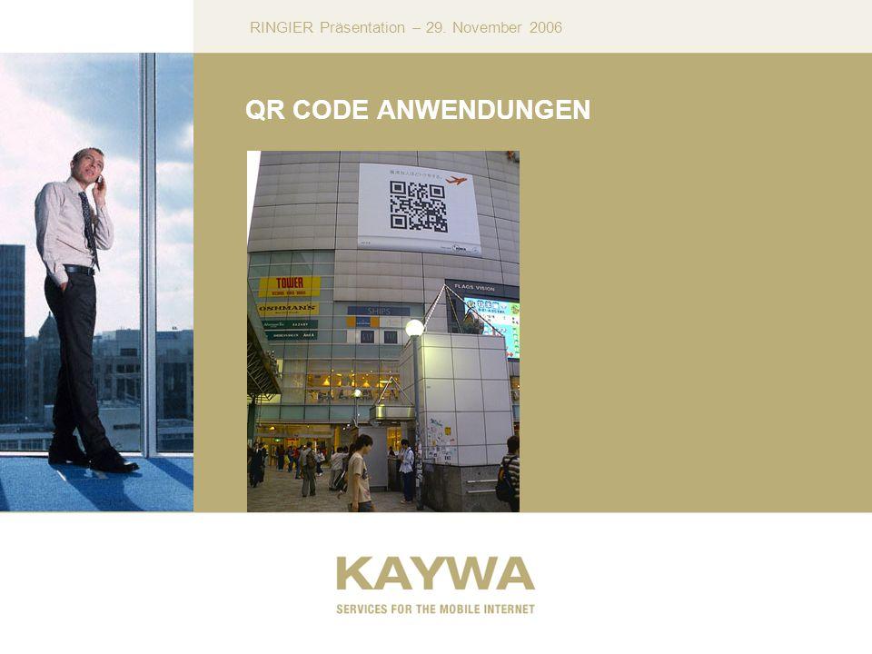 RINGIER Präsentation – 29. November 2006 QR CODE ANWENDUNGEN
