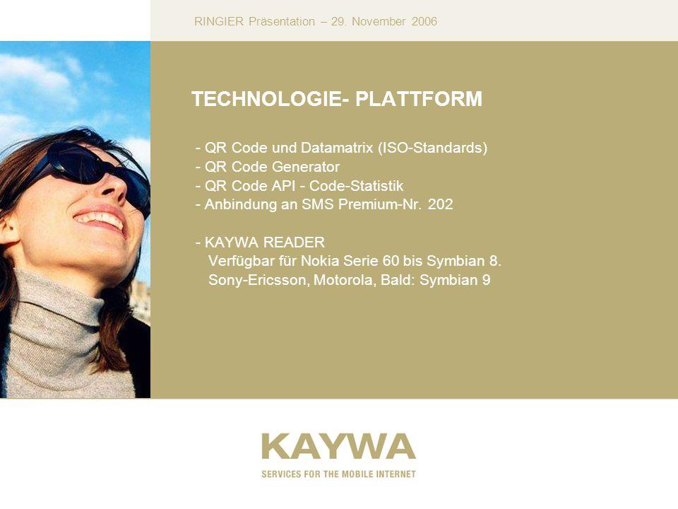 RINGIER Präsentation – 29. November 2006 TECHNOLOGIE- PLATTFORM - QR Code und Datamatrix (ISO-Standards) - QR Code Generator - QR Code API - Code-Stat