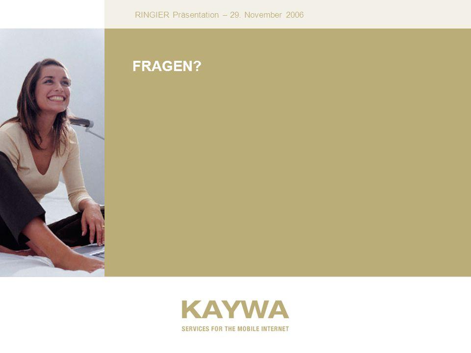 RINGIER Präsentation – 29. November 2006 FRAGEN?