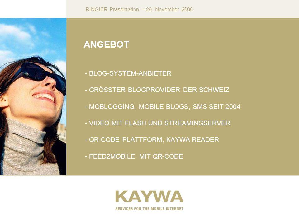 RINGIER Präsentation – 29. November 2006 ANGEBOT - BLOG-SYSTEM-ANBIETER - GRÖSSTER BLOGPROVIDER DER SCHWEIZ - MOBLOGGING, MOBILE BLOGS, SMS SEIT 2004