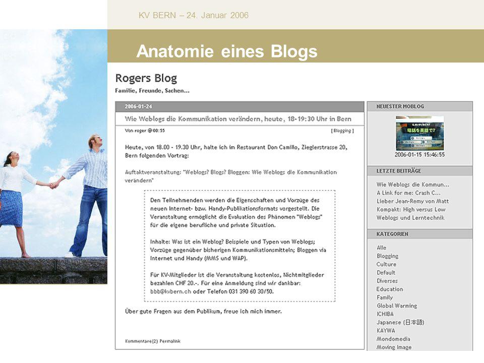 KV BERN – 24. Januar 2006 Anatomie eines Blogs