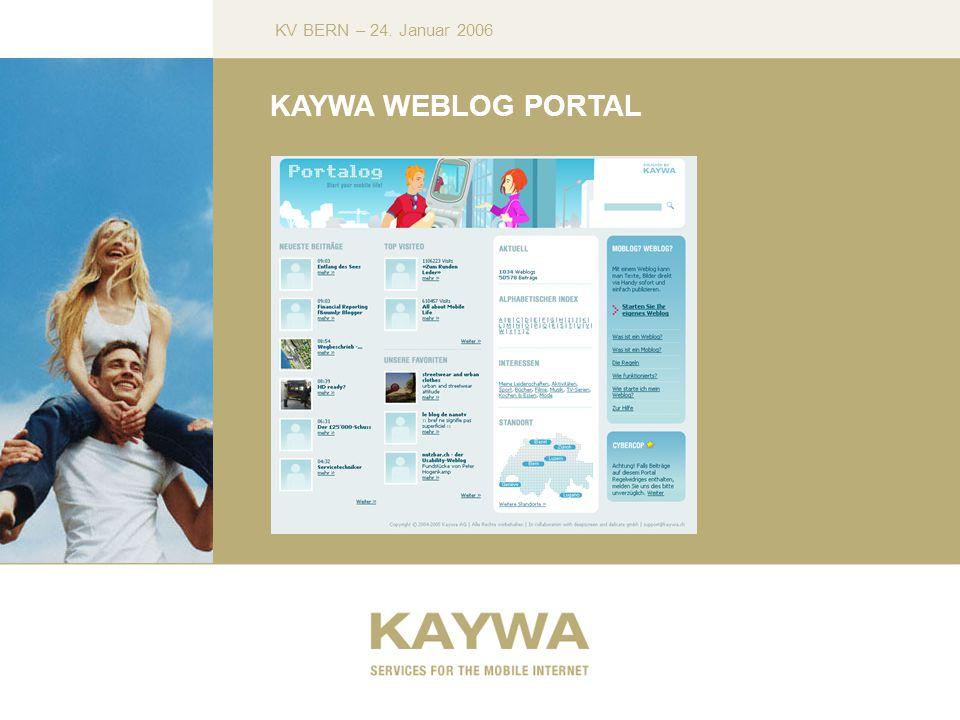 KV BERN – 24. Januar 2006 KAYWA WEBLOG PORTAL