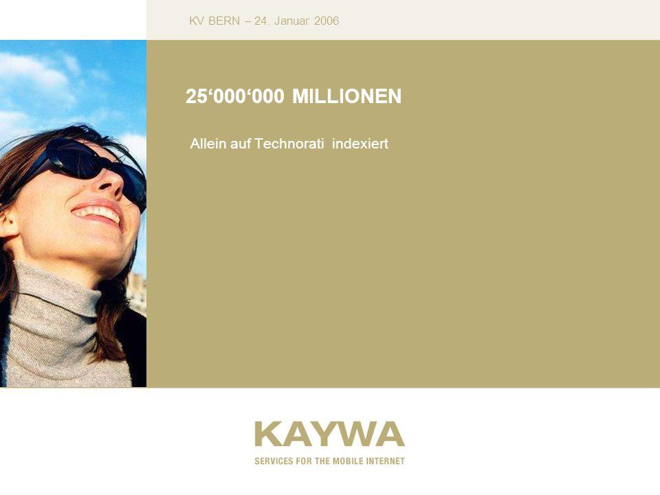 KV BERN – 24. Januar 2006 25000000 MILLIONEN Allein auf Technorati indexiert