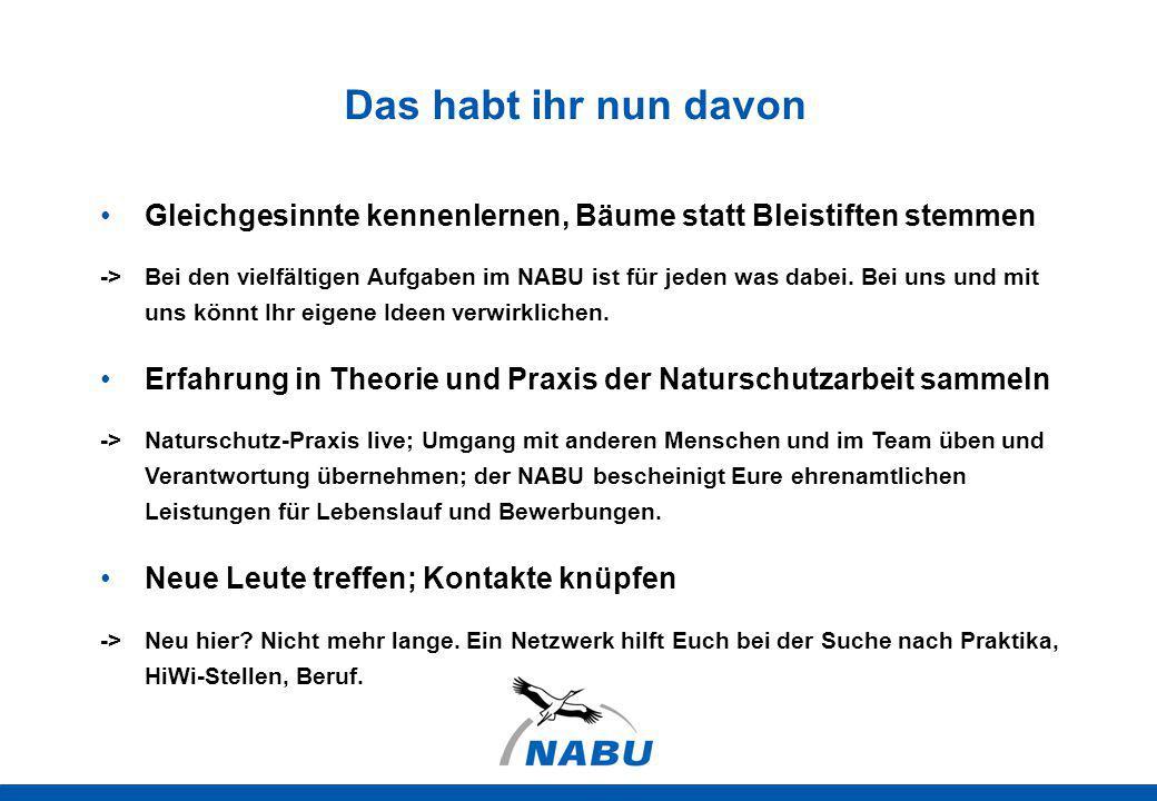 Das habt ihr nun davon Gleichgesinnte kennenlernen, Bäume statt Bleistiften stemmen -> Bei den vielfältigen Aufgaben im NABU ist für jeden was dabei.