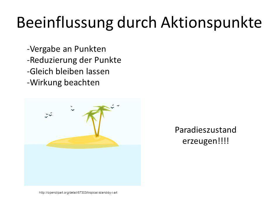 Beeinflussung durch Aktionspunkte -Vergabe an Punkten -Reduzierung der Punkte -Gleich bleiben lassen -Wirkung beachten Paradieszustand erzeugen!!!! ht