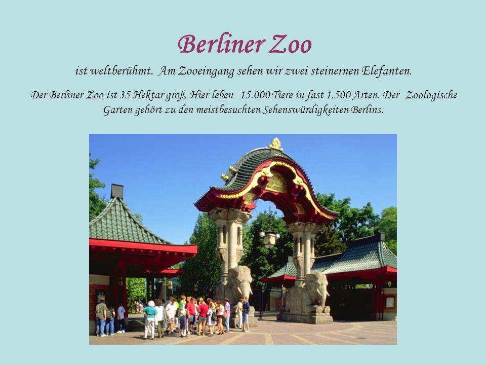 Berliner Zoo ist weltberühmt. Am Zooeingang sehen wir zwei steinernen Elefanten. Der Berliner Zoo ist 35 Hektar groß. Hier leben 15.000 Tiere in fast