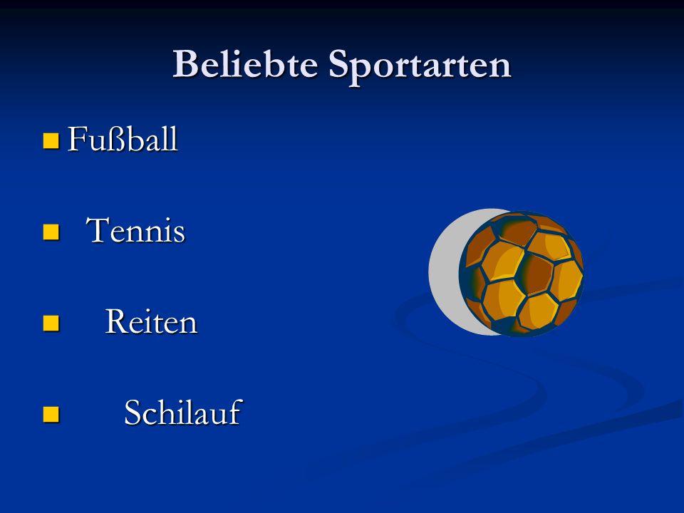 Beliebte Sportarten Fußball Fußball Tennis Tennis Reiten Reiten Schilauf Schilauf