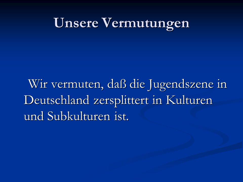 Unsere Vermutungen Wir vermuten, daß die Jugendszene in Deutschland zersplittert in Kulturen und Subkulturen ist. Wir vermuten, daß die Jugendszene in