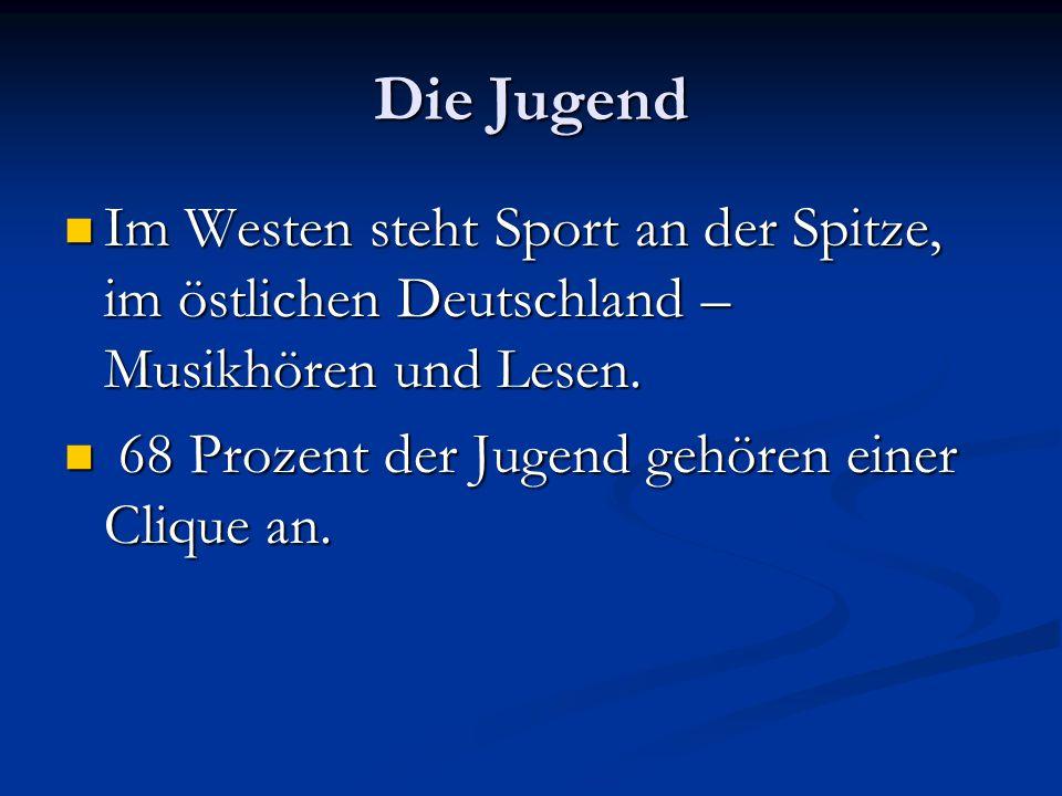 Die Jugend Im Westen steht Sport an der Spitze, im östlichen Deutschland – Musikhören und Lesen. Im Westen steht Sport an der Spitze, im östlichen Deu