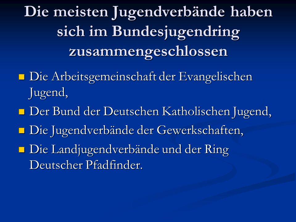 Die meisten Jugendverbände haben sich im Bundesjugendring zusammengeschlossen Die Arbeitsgemeinschaft der Evangelischen Jugend, Die Arbeitsgemeinschaf