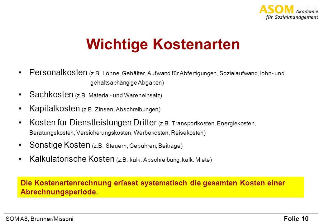 Folie 10 SOM A8, Brunner/Missoni Wichtige Kostenarten Personalkosten (z.B. Löhne, Gehälter, Aufwand für Abfertigungen, Sozialaufwand, lohn- und gehalt
