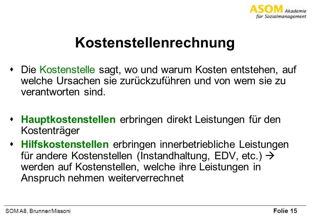 Folie 15 SOM A8, Brunner/Missoni Kostenstellenrechnung Die Kostenstelle sagt, wo und warum Kosten entstehen, auf welche Ursachen sie zurückzuführen un