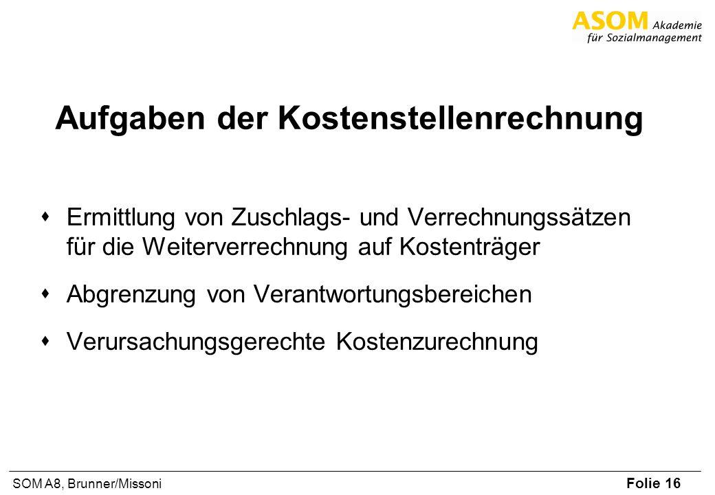Folie 16 SOM A8, Brunner/Missoni Aufgaben der Kostenstellenrechnung Ermittlung von Zuschlags- und Verrechnungssätzen für die Weiterverrechnung auf Kos