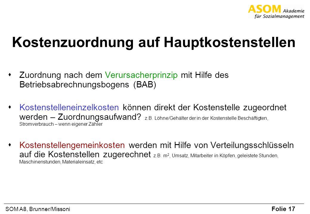 Folie 17 SOM A8, Brunner/Missoni Kostenzuordnung auf Hauptkostenstellen Zuordnung nach dem Verursacherprinzip mit Hilfe des Betriebsabrechnungsbogens