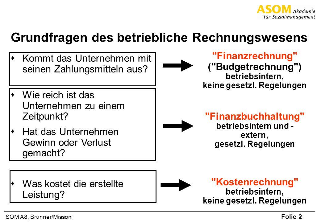 Folie 3 SOM A8, Brunner/Missoni Rechnungswesen - Abgrenzungen Finanzrechnung Beantwortet die Frage: –Ist das Unternehmen ausreichend liquide.