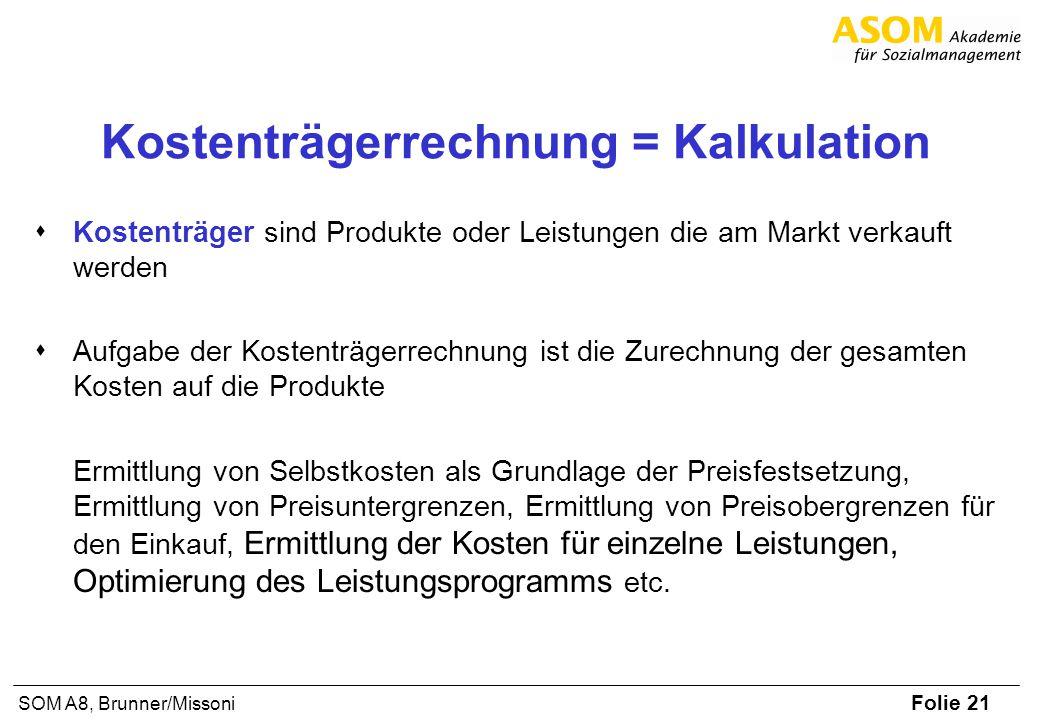 Folie 21 SOM A8, Brunner/Missoni Kostenträgerrechnung = Kalkulation Kostenträger sind Produkte oder Leistungen die am Markt verkauft werden Aufgabe de