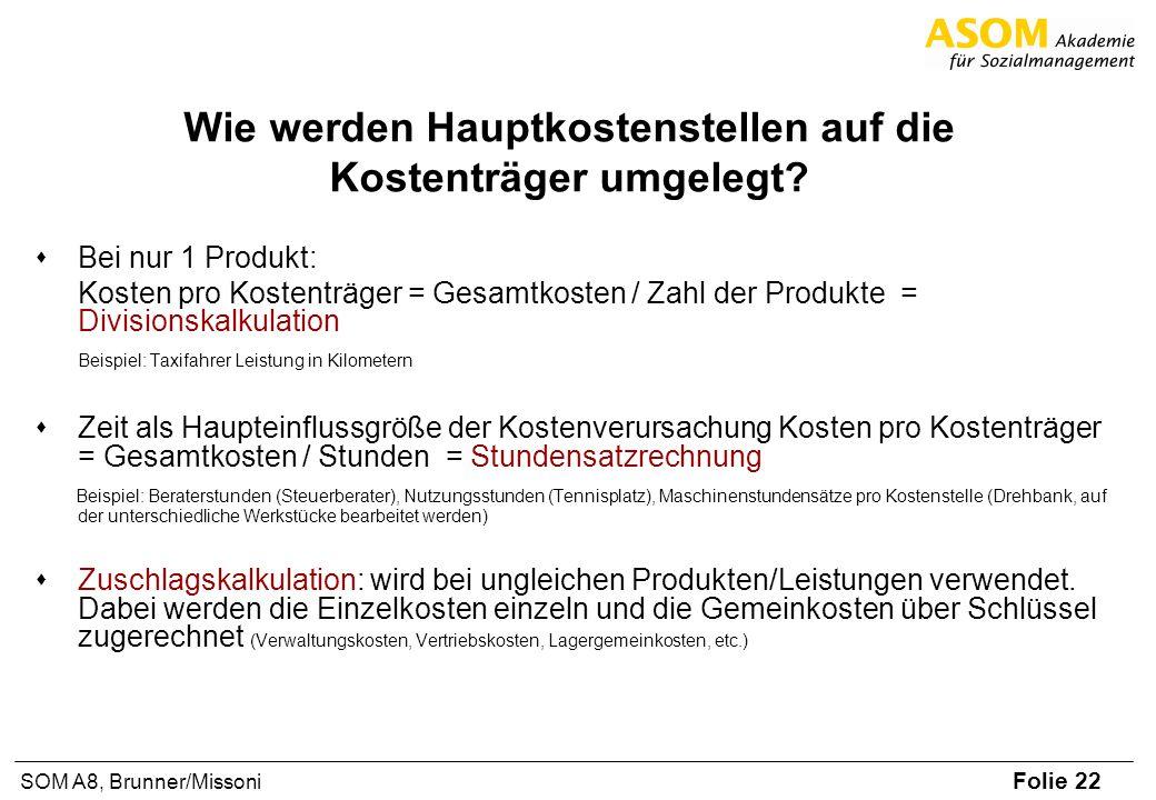 Folie 22 SOM A8, Brunner/Missoni Wie werden Hauptkostenstellen auf die Kostenträger umgelegt? Bei nur 1 Produkt: Kosten pro Kostenträger = Gesamtkoste