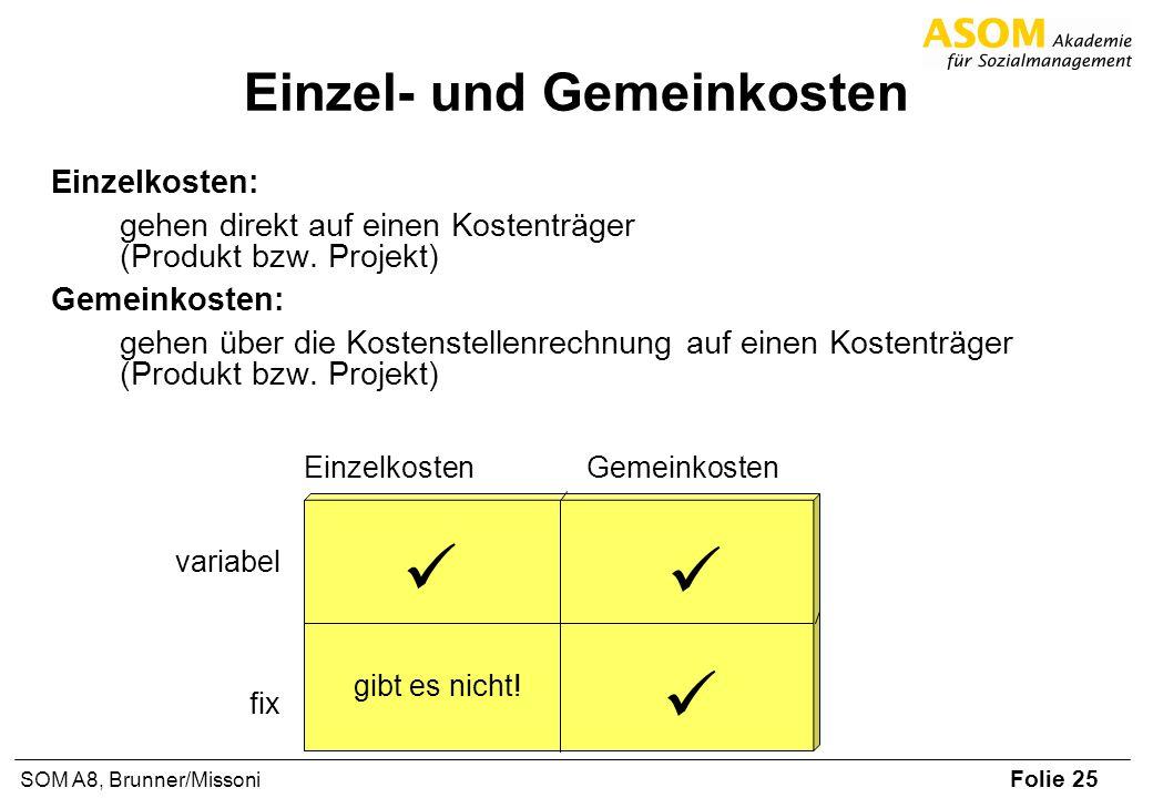 Folie 25 SOM A8, Brunner/Missoni Einzel- und Gemeinkosten Einzelkosten: gehen direkt auf einen Kostenträger (Produkt bzw. Projekt) Gemeinkosten: gehen
