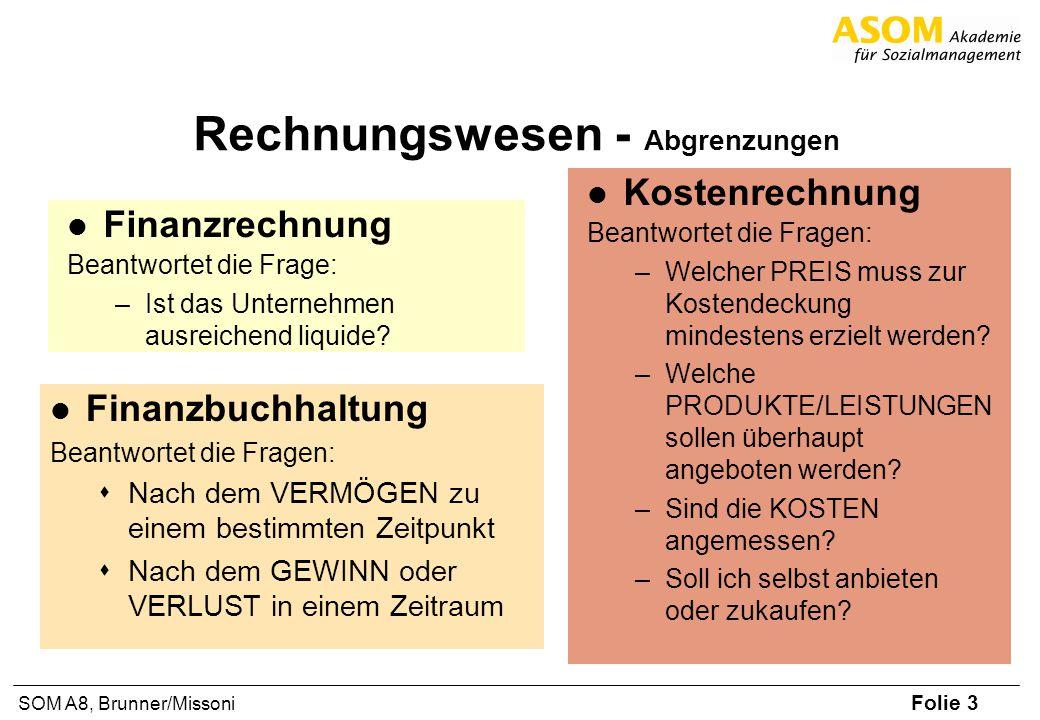 Folie 3 SOM A8, Brunner/Missoni Rechnungswesen - Abgrenzungen Finanzrechnung Beantwortet die Frage: –Ist das Unternehmen ausreichend liquide? Finanzbu