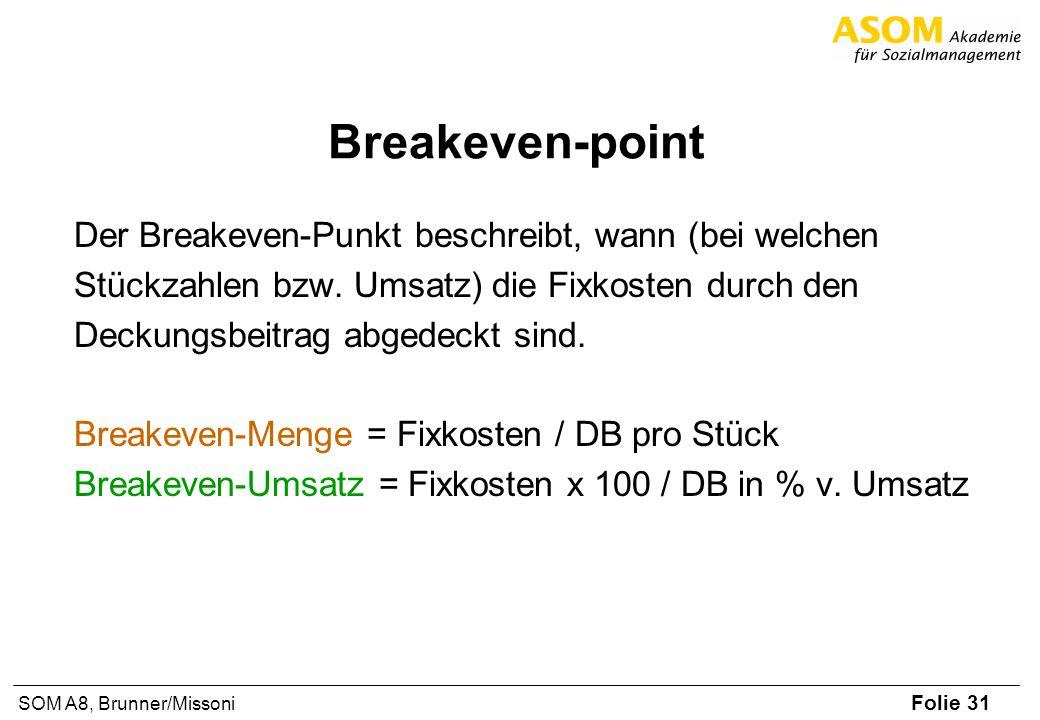 Folie 31 SOM A8, Brunner/Missoni Breakeven-point Der Breakeven-Punkt beschreibt, wann (bei welchen Stückzahlen bzw. Umsatz) die Fixkosten durch den De