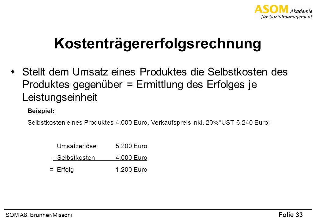 Folie 33 SOM A8, Brunner/Missoni Kostenträgererfolgsrechnung Stellt dem Umsatz eines Produktes die Selbstkosten des Produktes gegenüber = Ermittlung d