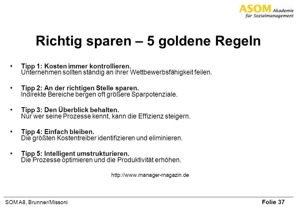 Folie 37 SOM A8, Brunner/Missoni Richtig sparen – 5 goldene Regeln sTipp 1: Kosten immer kontrollieren. Unternehmen sollten ständig an ihrer Wettbewer