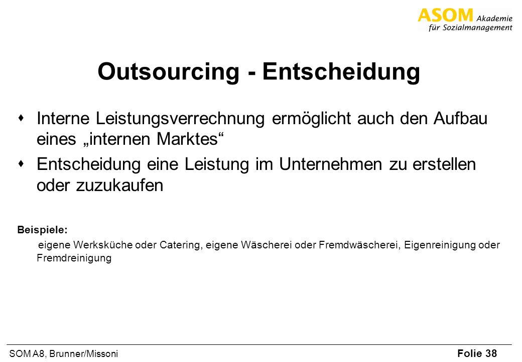 Folie 38 SOM A8, Brunner/Missoni Outsourcing - Entscheidung Interne Leistungsverrechnung ermöglicht auch den Aufbau eines internen Marktes Entscheidun