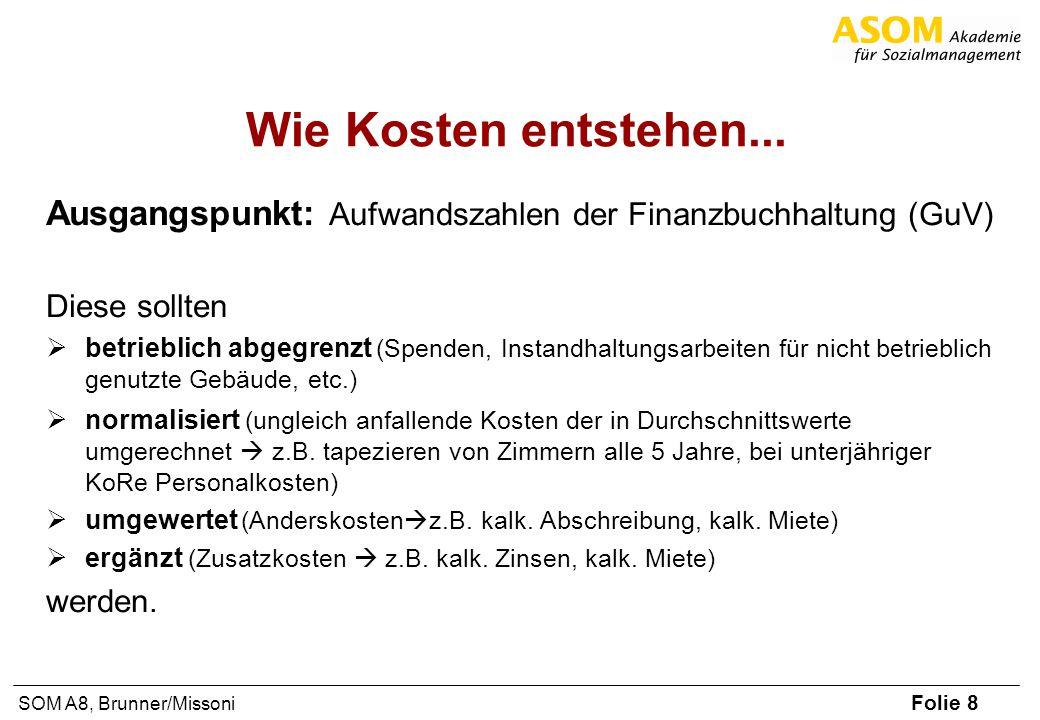 Folie 8 SOM A8, Brunner/Missoni Wie Kosten entstehen... Ausgangspunkt: Aufwandszahlen der Finanzbuchhaltung (GuV) Diese sollten betrieblich abgegrenzt