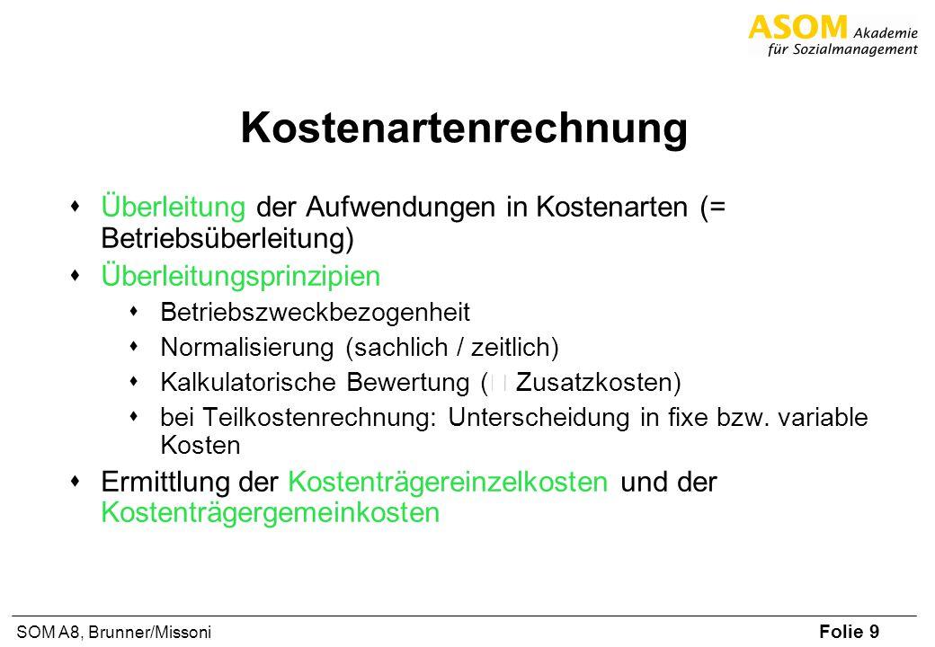 Folie 9 SOM A8, Brunner/Missoni Kostenartenrechnung Überleitung der Aufwendungen in Kostenarten (= Betriebsüberleitung) Überleitungsprinzipien Betrieb