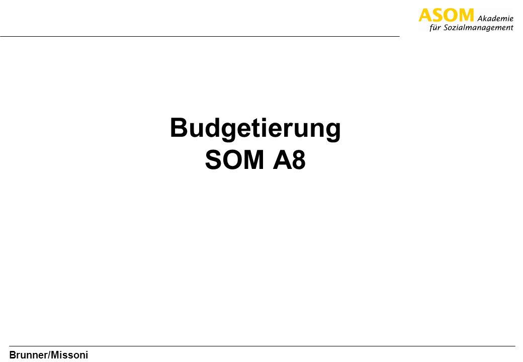 Folie 12 SOM A8 Brunner/Missoni Regeln für die Budgetierung Nehmen Sie sich genug Zeit für die Budgeterstellung Ein sorgfältig erstelltes Budget ist ein wesentliches Steuerungsinstrument für Führungskräfte Zeit wird gebraucht, um inhaltliche Pläne sorgfältig zu formulieren, die dann eine brauchbare Basis für das Budget sein können Genau durchdachte und ausformulierte Pläne und Budgets erleichtern die Umsetzung im Alltag Eine optimale Budgetierung hilft, notwendig gebrauchte Ressourcen nicht unnötig zu binden.