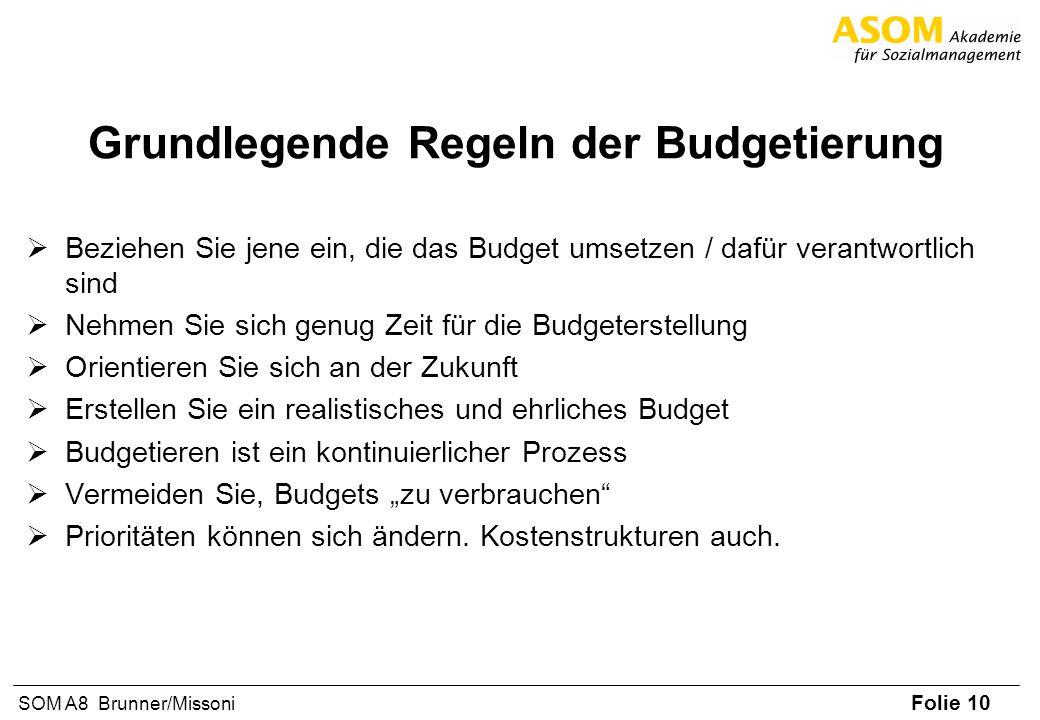 Folie 10 SOM A8 Brunner/Missoni Grundlegende Regeln der Budgetierung Beziehen Sie jene ein, die das Budget umsetzen / dafür verantwortlich sind Nehmen