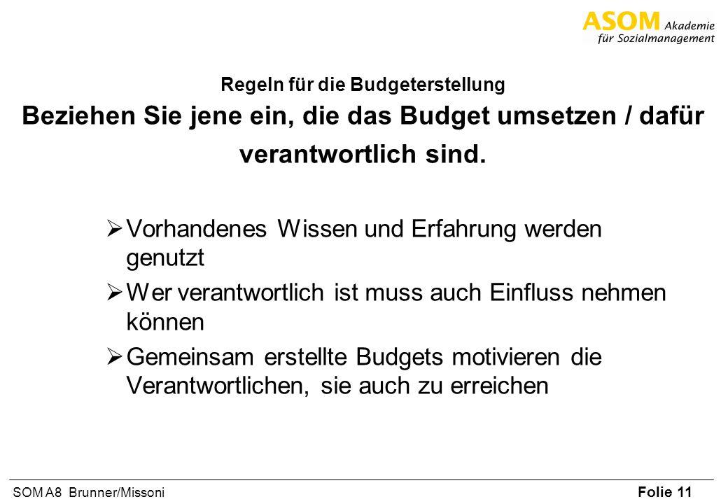 Folie 11 SOM A8 Brunner/Missoni Regeln für die Budgeterstellung Beziehen Sie jene ein, die das Budget umsetzen / dafür verantwortlich sind. Vorhandene