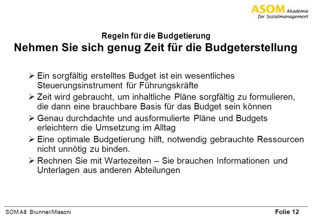 Folie 12 SOM A8 Brunner/Missoni Regeln für die Budgetierung Nehmen Sie sich genug Zeit für die Budgeterstellung Ein sorgfältig erstelltes Budget ist e