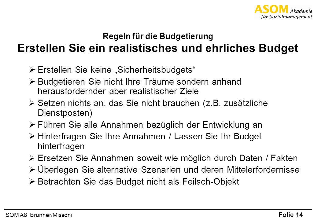 Folie 14 SOM A8 Brunner/Missoni Regeln für die Budgetierung Erstellen Sie ein realistisches und ehrliches Budget Erstellen Sie keine Sicherheitsbudget