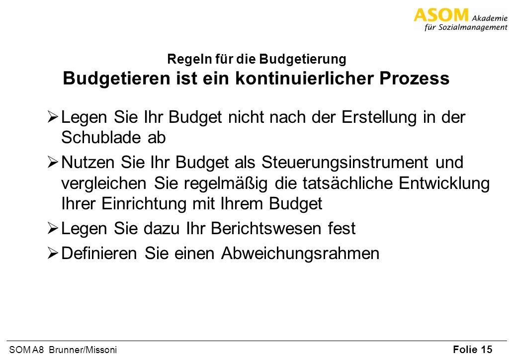 Folie 15 SOM A8 Brunner/Missoni Regeln für die Budgetierung Budgetieren ist ein kontinuierlicher Prozess Legen Sie Ihr Budget nicht nach der Erstellun