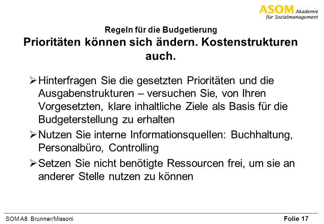 Folie 17 SOM A8 Brunner/Missoni Regeln für die Budgetierung Prioritäten können sich ändern. Kostenstrukturen auch. Hinterfragen Sie die gesetzten Prio