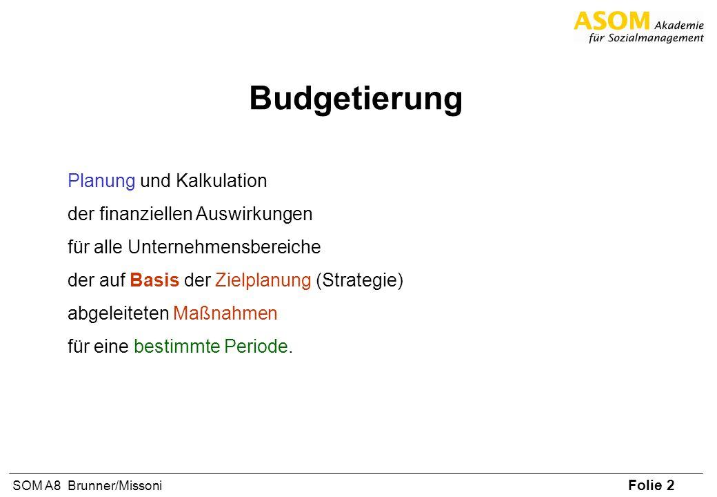 Folie 2 SOM A8 Brunner/Missoni Budgetierung Planung und Kalkulation der finanziellen Auswirkungen für alle Unternehmensbereiche der auf Basis der Ziel