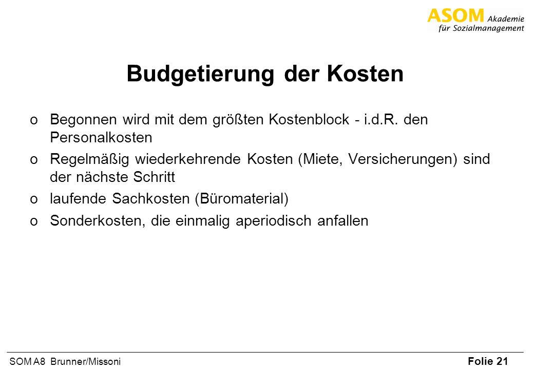 Folie 21 SOM A8 Brunner/Missoni Budgetierung der Kosten oBegonnen wird mit dem größten Kostenblock - i.d.R. den Personalkosten oRegelmäßig wiederkehre