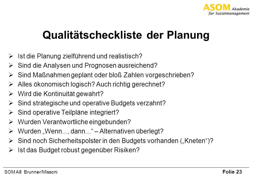 Folie 23 SOM A8 Brunner/Missoni Qualitätscheckliste der Planung Ist die Planung zielführend und realistisch? Sind die Analysen und Prognosen ausreiche