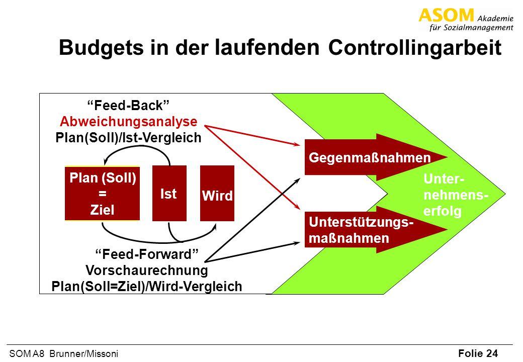 Folie 24 SOM A8 Brunner/Missoni Budgets in der laufenden Controllingarbeit Unter- nehmens- erfolg Plan (Soll) = Ziel Ist Feed-Back Abweichungsanalyse