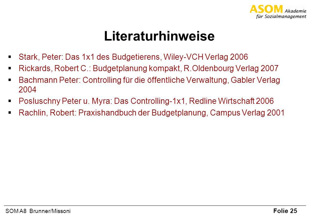 Folie 25 SOM A8 Brunner/Missoni Literaturhinweise Stark, Peter: Das 1x1 des Budgetierens, Wiley-VCH Verlag 2006 Rickards, Robert C.: Budgetplanung kom