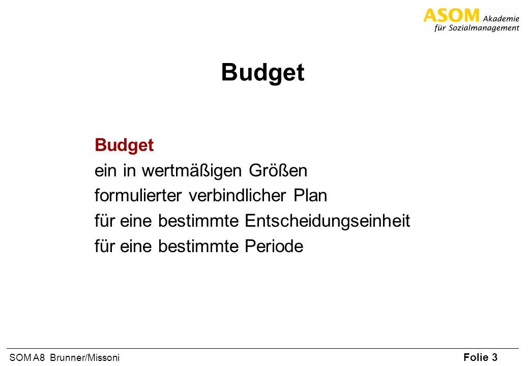 Folie 14 SOM A8 Brunner/Missoni Regeln für die Budgetierung Erstellen Sie ein realistisches und ehrliches Budget Erstellen Sie keine Sicherheitsbudgets Budgetieren Sie nicht Ihre Träume sondern anhand herausfordernder aber realistischer Ziele Setzen nichts an, das Sie nicht brauchen (z.B.