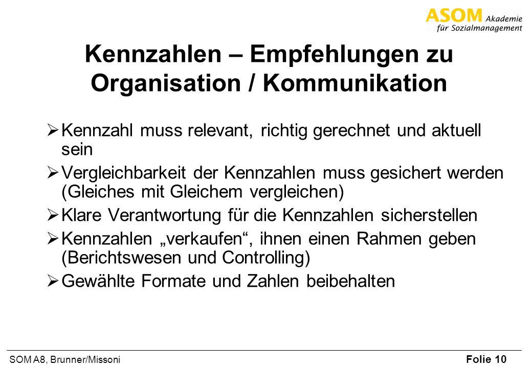 Folie 10 SOM A8, Brunner/Missoni Kennzahlen – Empfehlungen zu Organisation / Kommunikation Kennzahl muss relevant, richtig gerechnet und aktuell sein