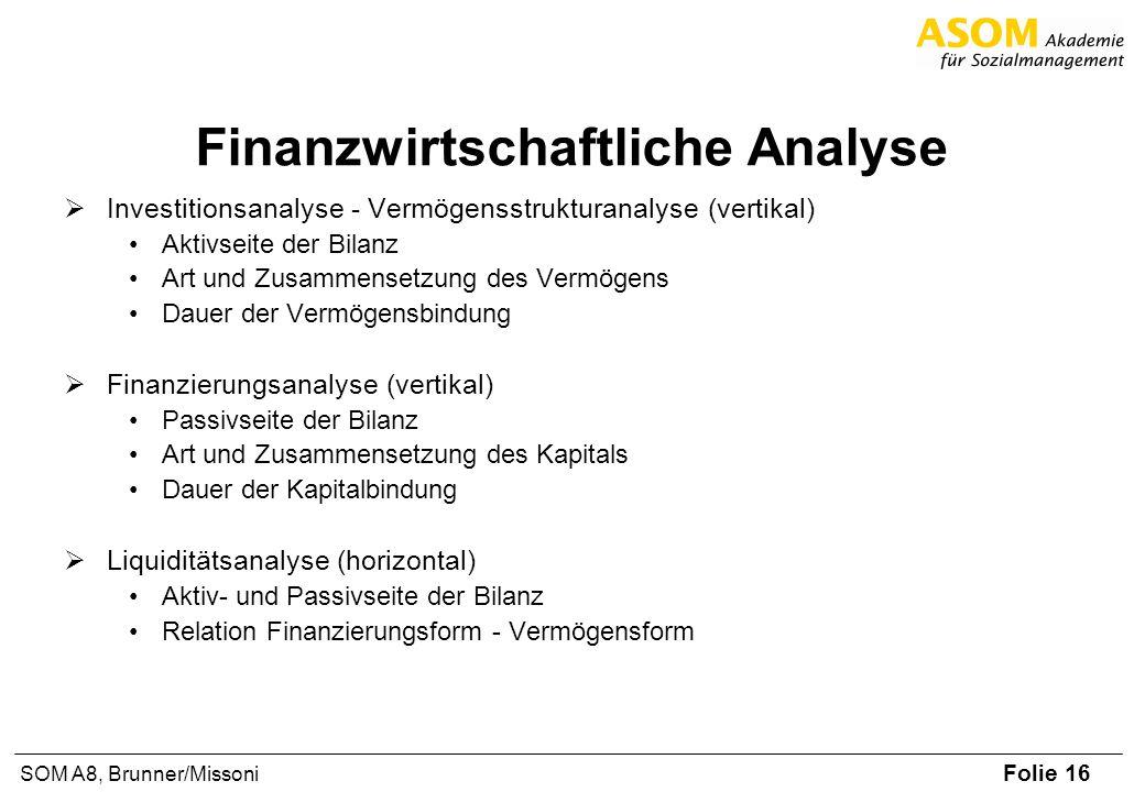 Folie 16 SOM A8, Brunner/Missoni Finanzwirtschaftliche Analyse Investitionsanalyse - Vermögensstrukturanalyse (vertikal) Aktivseite der Bilanz Art und