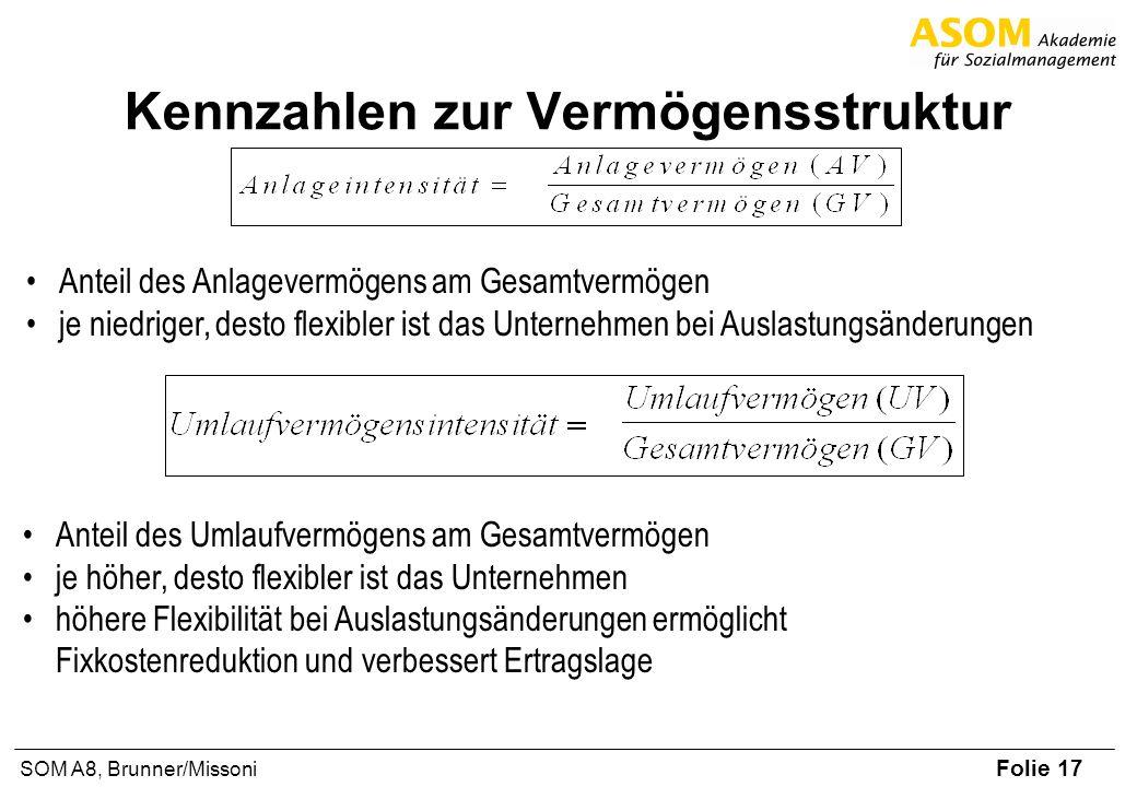 Folie 17 SOM A8, Brunner/Missoni Kennzahlen zur Vermögensstruktur Anteil des Anlagevermögens am Gesamtvermögen je niedriger, desto flexibler ist das U