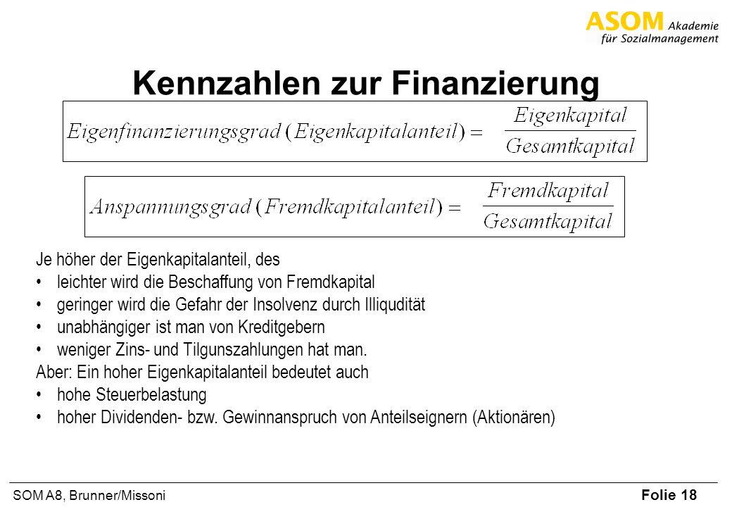 Folie 18 SOM A8, Brunner/Missoni Kennzahlen zur Finanzierung Je höher der Eigenkapitalanteil, des leichter wird die Beschaffung von Fremdkapital geringer wird die Gefahr der Insolvenz durch Illiqudität unabhängiger ist man von Kreditgebern weniger Zins- und Tilgunszahlungen hat man.