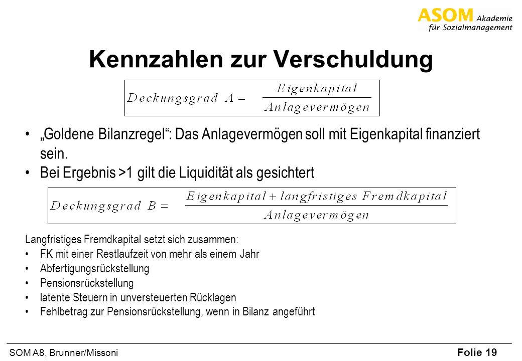 Folie 19 SOM A8, Brunner/Missoni Kennzahlen zur Verschuldung Goldene Bilanzregel: Das Anlagevermögen soll mit Eigenkapital finanziert sein. Bei Ergebn