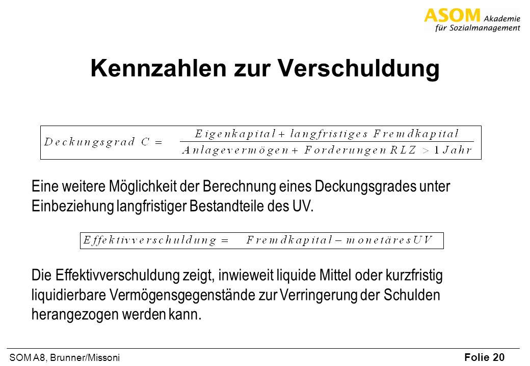 Folie 20 SOM A8, Brunner/Missoni Kennzahlen zur Verschuldung Eine weitere Möglichkeit der Berechnung eines Deckungsgrades unter Einbeziehung langfristiger Bestandteile des UV.